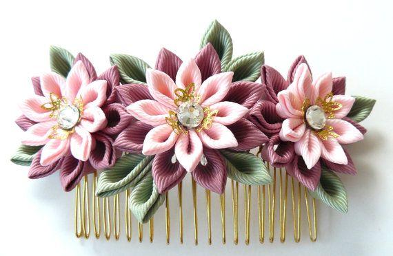Kanzashi Fabric Flower hair comb . Pink hair comb. от JuLVa