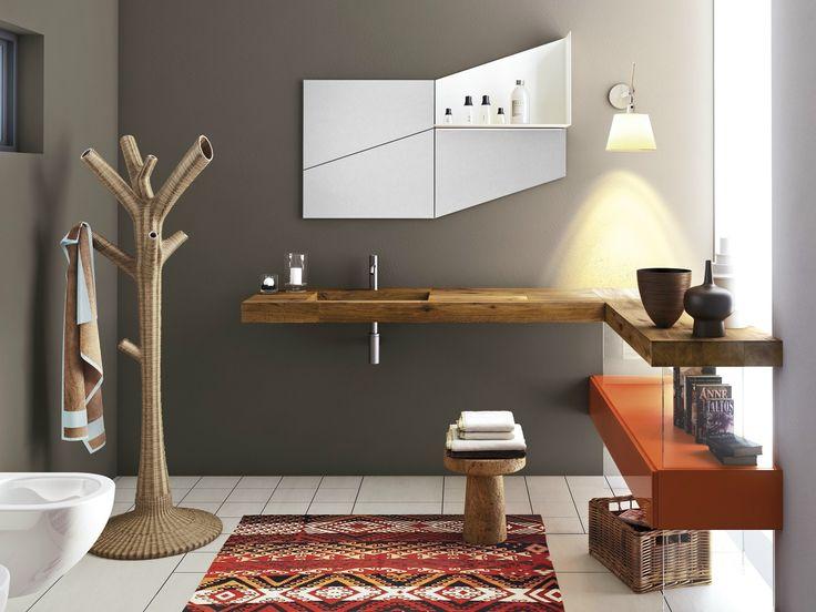 Single wood and glass washbasin DEPTH WILDWOOD by Lago design Daniele Lago