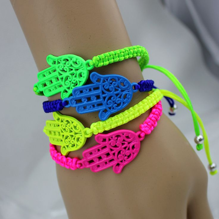bangle braceletss neon fluorescent hamsa hand friendship bracelet items ethnic jewelry charms and cord - to upcycle into other designs?