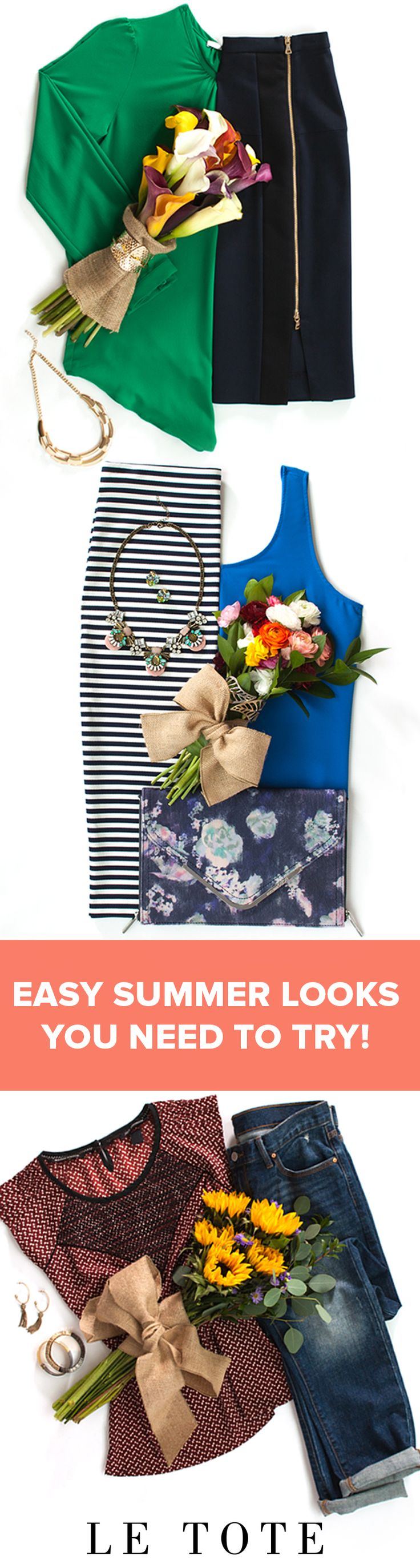 These are easy spring and summer outfit ideas for work or the weekend! You can rent all of these summer fashion outfits for women on www.letote.com! Have you tried a fashion subscription like LE TOTE yet?