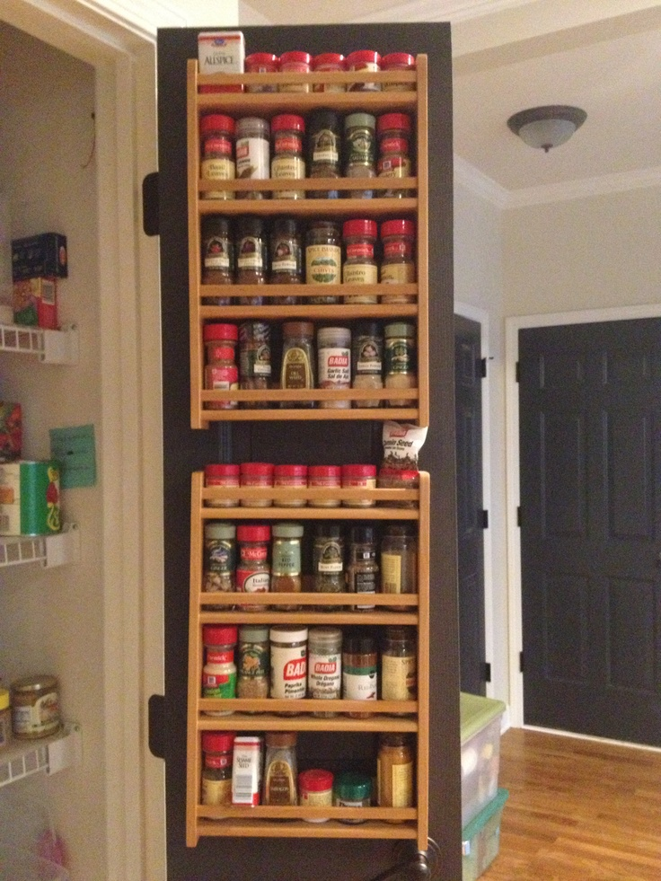 Spice Racks On The Inside Of Pantry Door To Save Space