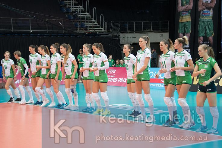 Women's Volleyball World Grand Prix Finals Group 3 Canberra - Hungary v Australia. The Hungarian team lines up before shaking hands.