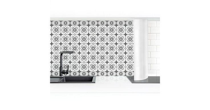 Küchenrückwand »Geometrische Fliesenmischung Blume grau«   – Products