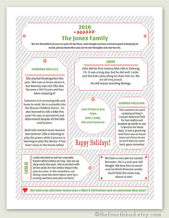 40 best Christmas Newsletter and Year In Review Templates images - christmas card letter templates