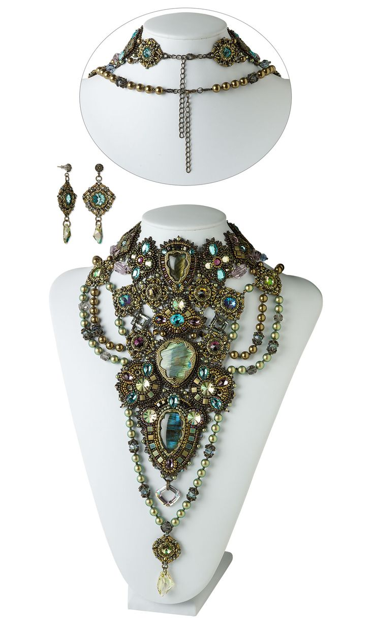 Jewelry Design - Bib-Style Necklace and Earring Set with Swarovski® Crystals, Labradorite Gemstone Cabochons and Seed Beads - Fire Mountain Gems and Beads