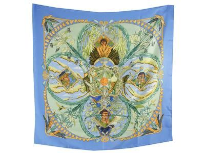 SCARF,  HERMÈS,  Amazonia,  Laurence Bourthoumieux,  100% silk, 90x90cm, pale blue, green, yellow.