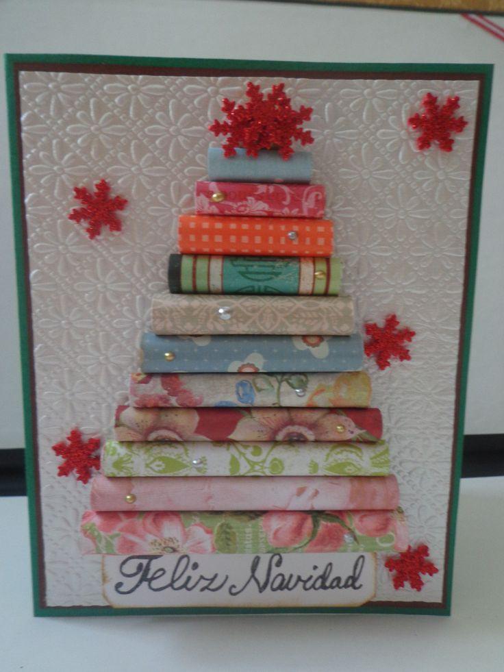 Tarjeta navideña con rollitos de papel decorativo!!!!!!!!!!!