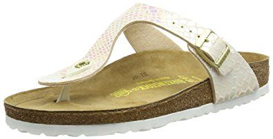 The Birkenstock Women's Gizeh Birko-Flor Thong Sandals in Shiny Snake Cream Birko Flor features a suede upper with an adjustable strap with buckle closure that gives you an optimal fit.  The suede lined anatomical cork footbed adapts to the shape of your foot for a comfortable fit.