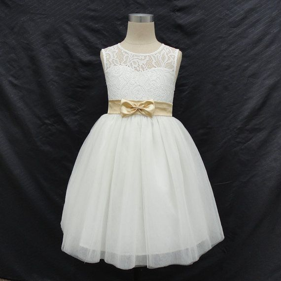 Top Lace With Tulle Skirt White flower girl dress with sash,Sleeveless flower girl dress,