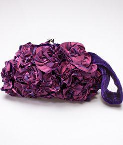 Purple Velvet Rosette Clutch: Also available in pink and taupe/teal. $35 #Handbag #Clutch #Velvet_Rosette_Clutch