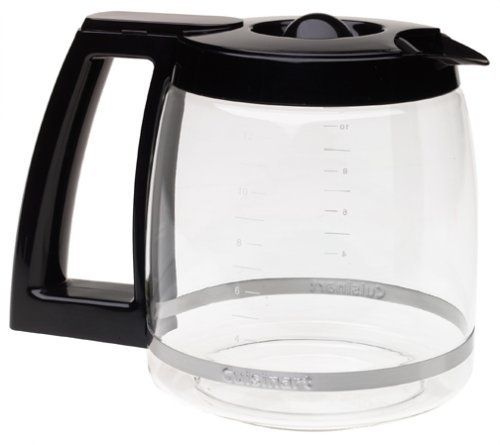 Cuisinart DCC-1200PRC 12-Cup Replacement Glass Carafe, Black by Cuisinart. $20.13. 12-cup carafe. Knuckle guard. For use with DCC-1200, DGB500BK coffeemakers. Ergonomic handle. Dripless spout. 12-cup carafe with ergonomic handle, dripless spout, and knuckle guard. DCC-1200PRC is the black replacement carafe for the 12-cup Cuisinart Brew Central Coffeemaker.. Save 39%!