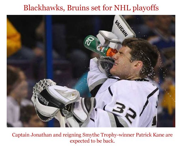 LOS ANGELES (AFP) - Dunya News - The NHL playoffs are set to begin with #Chicago aiming to become the first team since 1997-1998 to win back-to-back Stanley Cups and Boston hoping to benefit from home-ice advantage throughout the postseason. Captain Jonathan Toews and reigning Conn Smythe Trophy-winner Patrick Kane are expected to be back in the lineup for Chicago after missing time with injuries. #CaptainJonathan