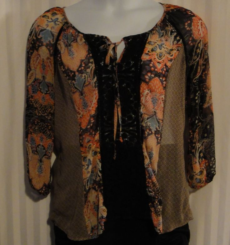 Cynthia Rowley Sheer Boho/Peasant Style Blouse with Paisley Print available now at ChicCentSations eBay Store.