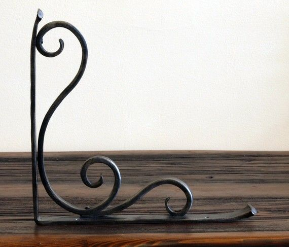 Pair of Hand Forged Shelf Brackets Scroll by ArtisansoftheAnvil, $75.00