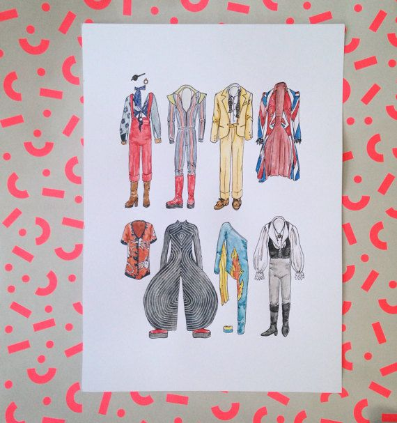 A3 DAVID BOWIE Art Print in Colour / Black and by flatlaydesign ziggy stardust 70's 80's costume iconic clothes clothing suit labyrinth flame leotard bright stage union jack coat eye patch platform boots alexander mcqueen yellow suit
