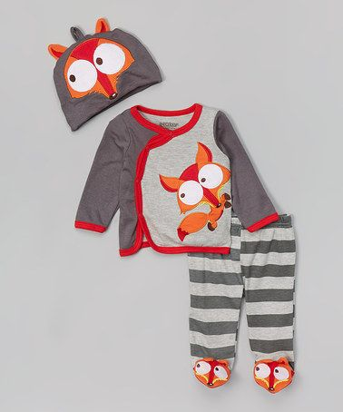 Another great find on #zulily! Gray & Orange Fox Cardigan Set - Infant #zulilyfinds