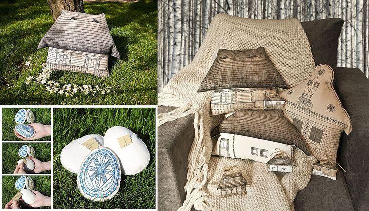 Decorațiuni textile pictate manual: perne sub formă de căsuțe tradiționale și ouă de Paște