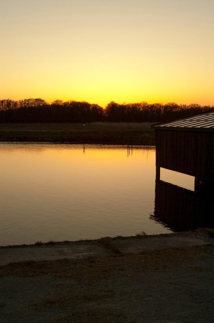 Zonsondergang, Naardermeer, Naarden.