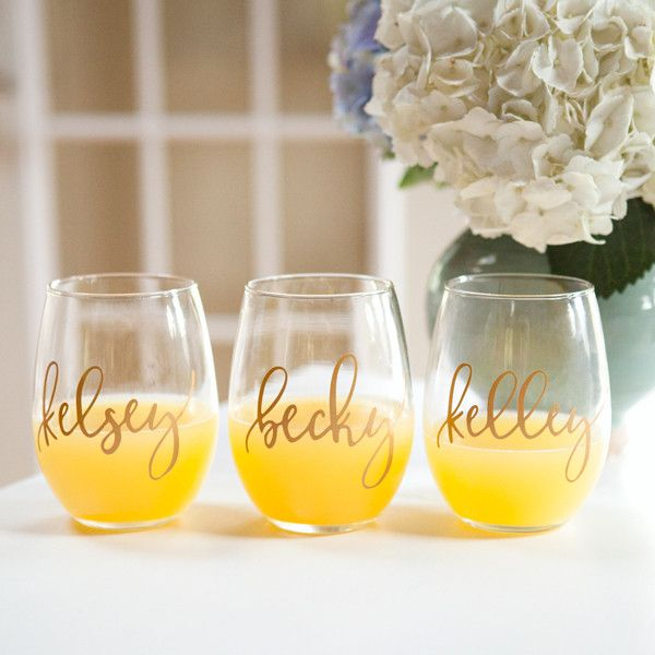 Personalized Bridesmaid Stemless Wine Glasses