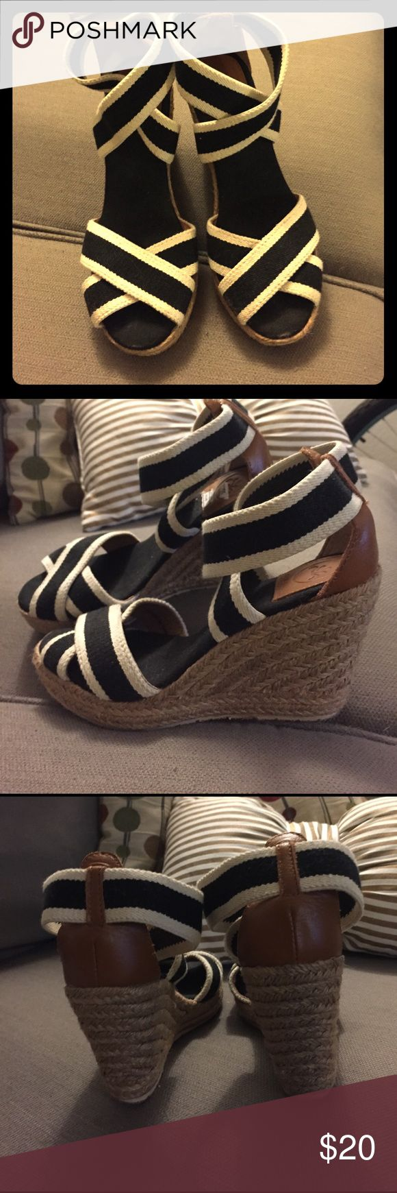 Black and white espadrilles Really cute wedge sandals. Stretchy straps and barely worn. Love the style just realized I never wear wedges. Great condition Shoes Espadrilles