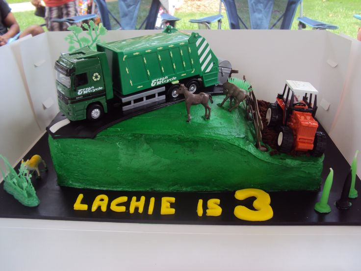This was for my son's 3rd Birthday party. He hounded me for months to make him a garbage truck, and tractor cake, so this was what I came up with. A bit over green buttercream. lol