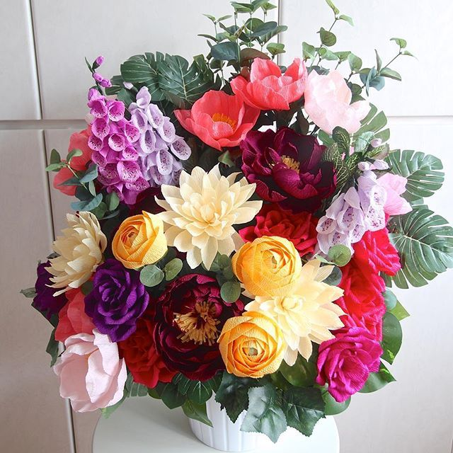 Crepe Paper Flower Arrangement by Miss Petal and Bloom