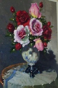 """""""Pink and Red Roses in Vase"""""""