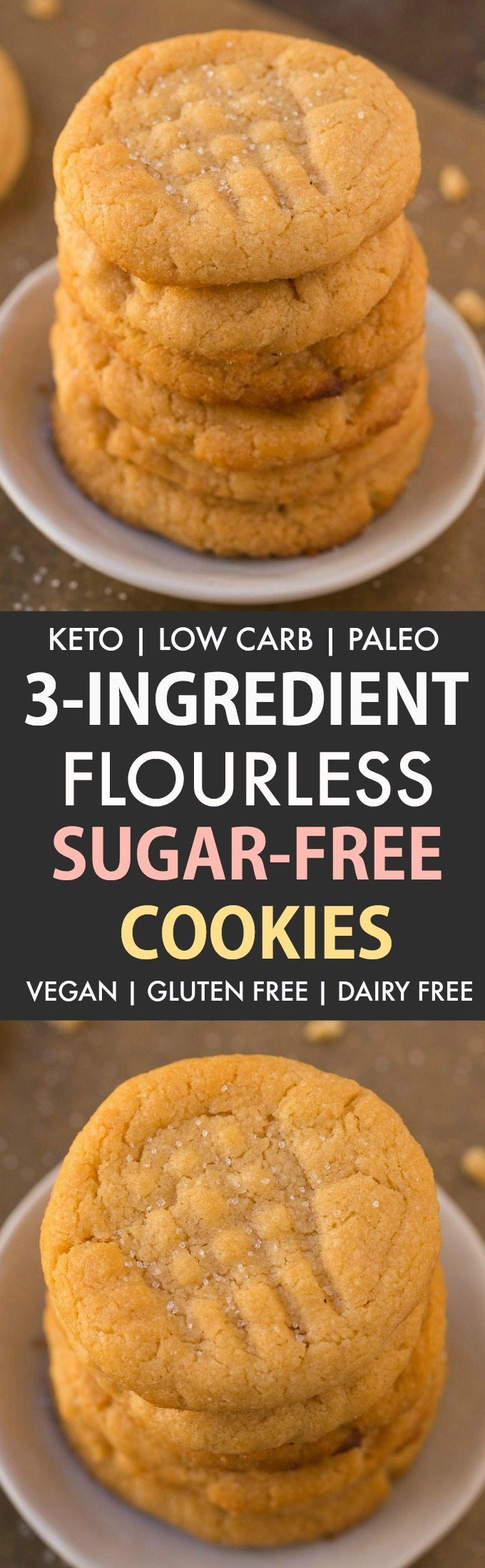 3-Ingredient Low Carb Sugar Free Cookies (Keto, Flourless, Paleo, Vegan)- The classic peanut butter cookie gets a healthy and sugar-free makeover- Chewy, soft and crispy in one! #cookies #ketodessert #ketobaking #sugarfreerecipes #lowcarbrecipes #ketorecipes | Recipe on thebigmansworld.com