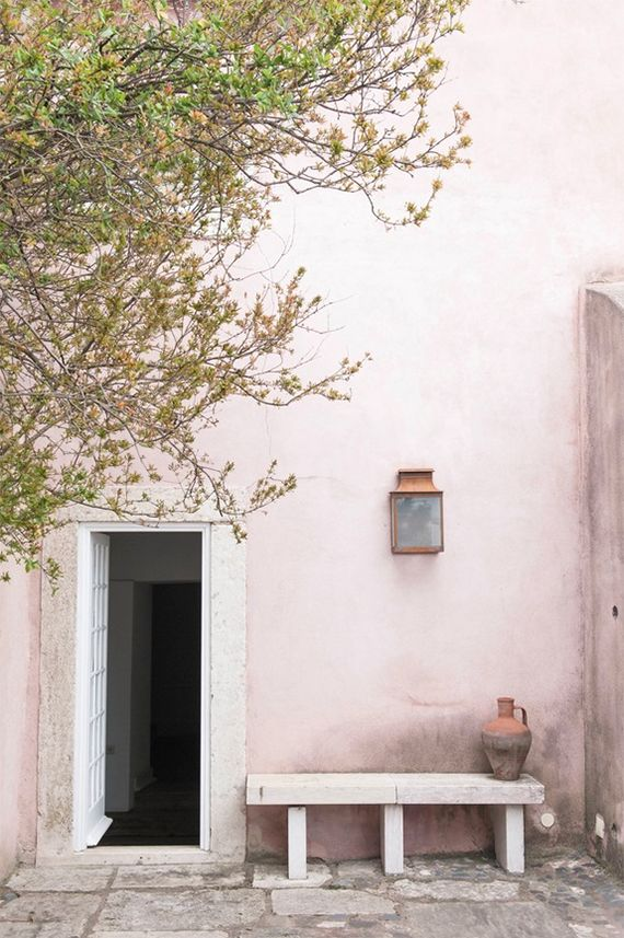 Pink wall in Portugal by Charissa Fay