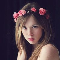 Flower crown floral crown Bridal hair crown, Wedding wreath, Boho garland, Pink flower crown, Silk Flowers - 'Sweet Pea'