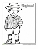 A coloring sheet for 1st graders about traditional clothing from around the world. This one is of an English boy in traditional dress.