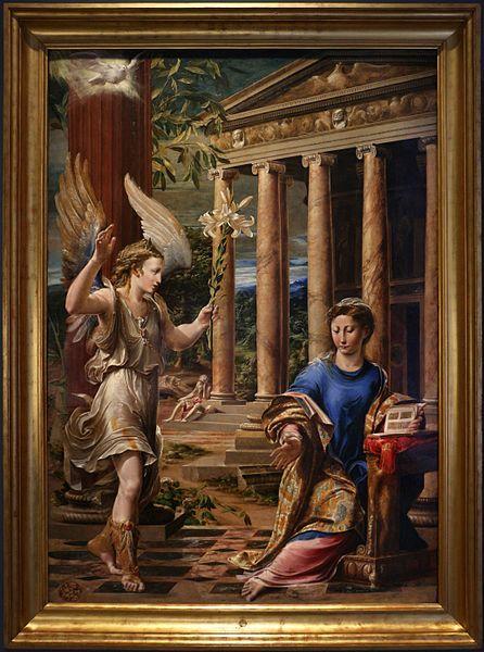 с.1540,или c.1559, Girolamo Mazzola Bedoli,The Annunciation,Girolamo Mazzola Bedoli (c. 1500-1569) an Italian painter active in the Mannerist style.(milano,pinacoteca ambrosiana)