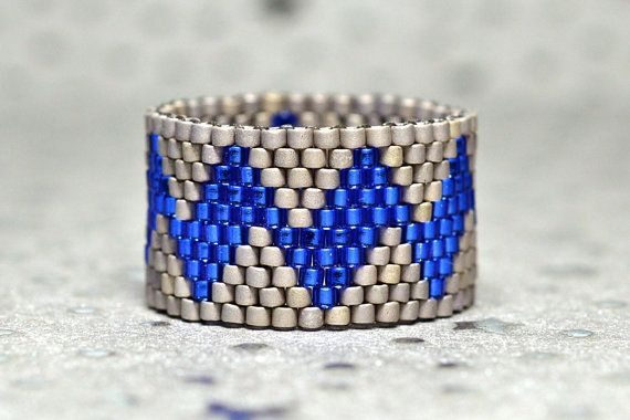 PEYOTE RING  Sand and Sea by PeyoteRings on Etsy