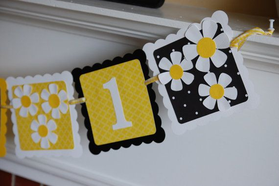 Daisy I am 1 Banner, Daisy Birthday Banner, Daisy Decorations, Daisy Party, Yellow Black White on Etsy, $16.00