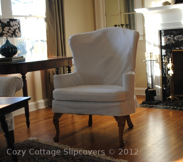 Cozy Cottage Slipcovers White Denim Wing Chair White