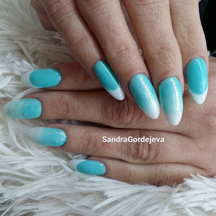 gel nails ombre nails blue lagoon nails mermaid glitter frech nails turquoise nails