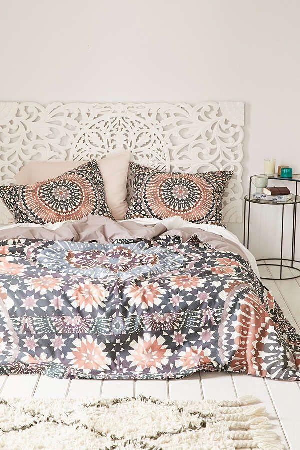 Cozy bedroom Moroccan tile bohemian duvet. || bedroom decor ideas ||  Affiliate