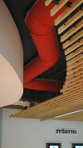 Half Round Fabric Ducting with bends for make up air above the QMU returns area.