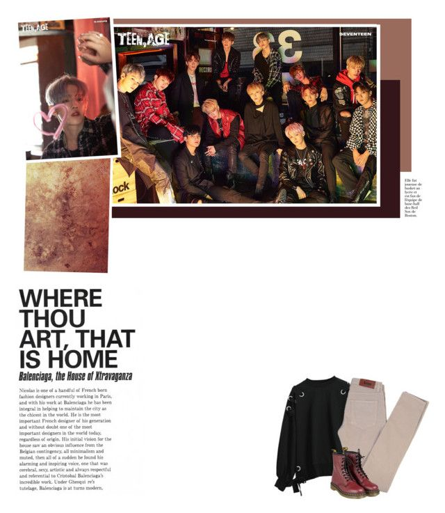 """""""17: we never lose a thing"""" by yb77 ❤ liked on Polyvore featuring Acne Studios, Dr. Martens, Yves Saint Laurent, 17, kpop and seventeen"""