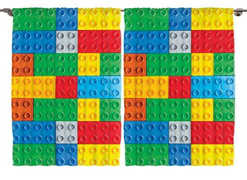 "Colorful Legos Autism Awareness Playroom Nursery 108""w X 63""l Wall Art for Kids Youth Girl Boy Lego Room Bedroom Living Room Fancy Decorations Designer Toys Decor Curtain 2 Panels Set Ambesonne"