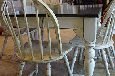 Beautiful inspiration for re-doing our old kitchen chairs.  This is the finish look I'd love to see on the whole dining room set and this would unify the mismatched chairs too.