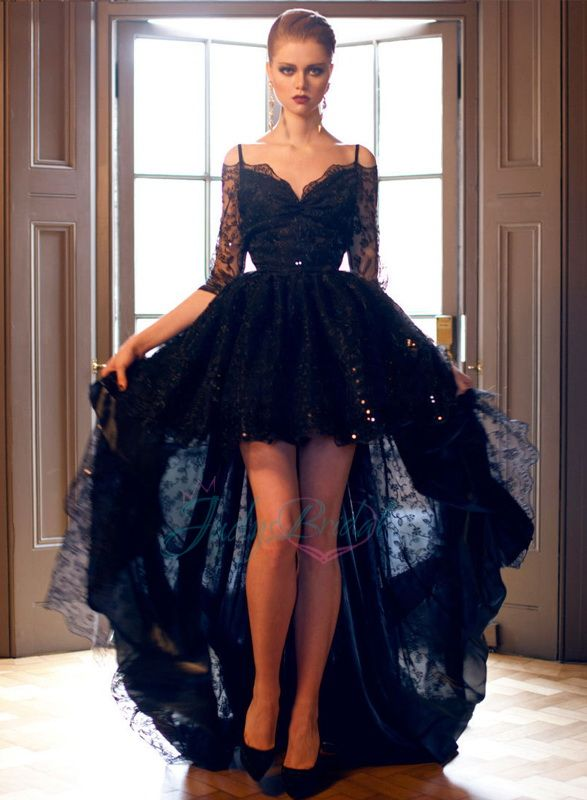 black off shoulder half long sleeve high low lace prom evening dress ... 032ae7eac3b4
