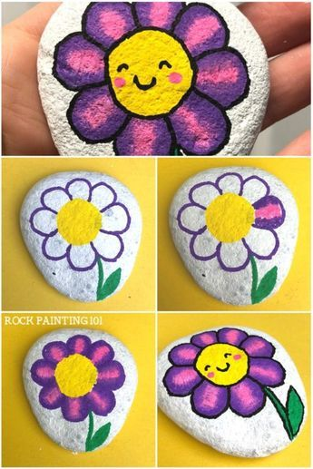 These happy flower rocks are an easy flower painting idea that works perfectly o…