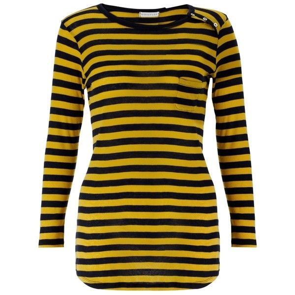 Buy Whistles ¾ Sleeve Bretton Stripe Top, Yellow/black online at... (210 BRL) ❤ liked on Polyvore featuring tops, shirts, casual tops, long sleeve tops, striped long sleeve top, sleeve shirt, striped long sleeve shirt, extra long sleeve shirts and long-sleeve crop tops