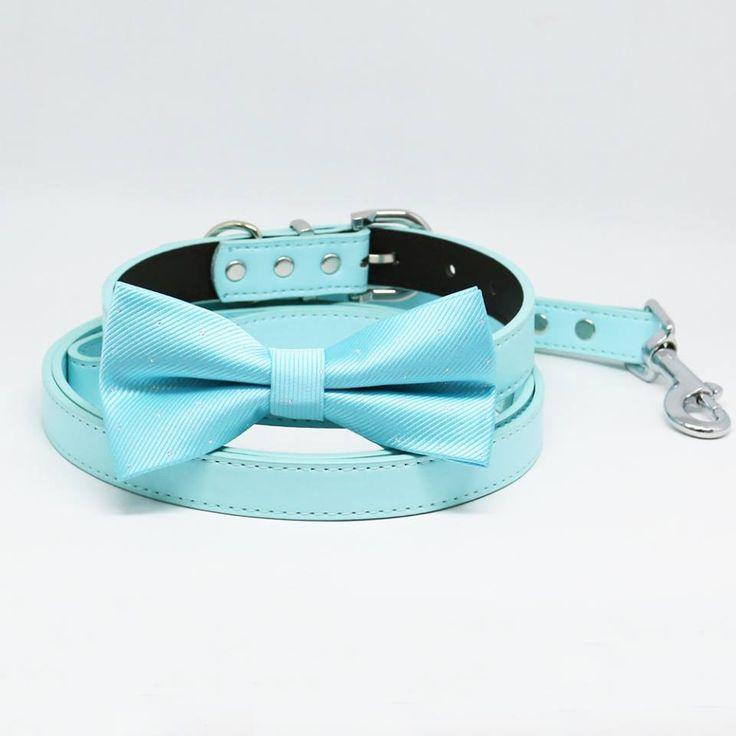Blue Bow tie Dog collar Blue Light Leash, Handmade gift, Pets wedding, Something Blue