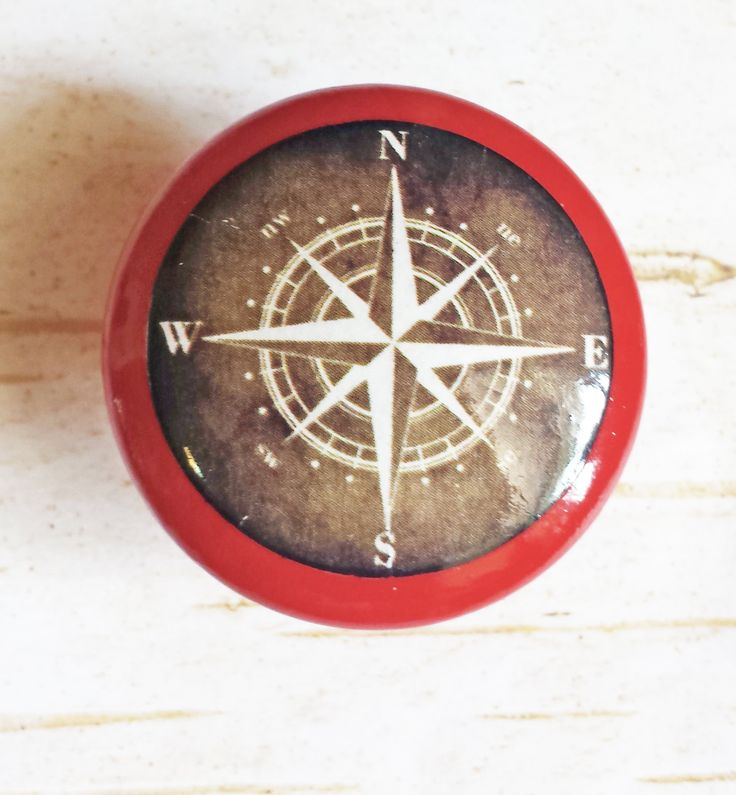 Nautical Compass Knob Drawer Pulls, Antique Style Cabinet Pull Handles, Beach Style Dresser Knobs, Espresso Over Tuscan Red, Made To Order by SRVintageandDesigns on Etsy