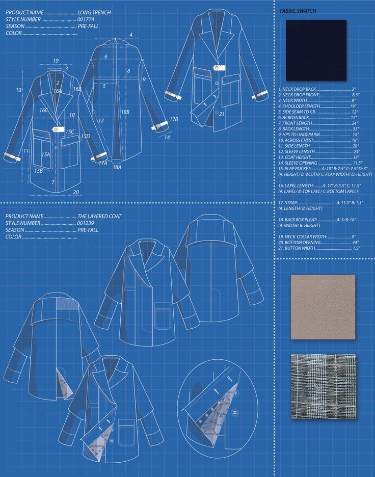 Technical Design/ Outerwear Pieces. Flat drawings using Adobe Illustrator.