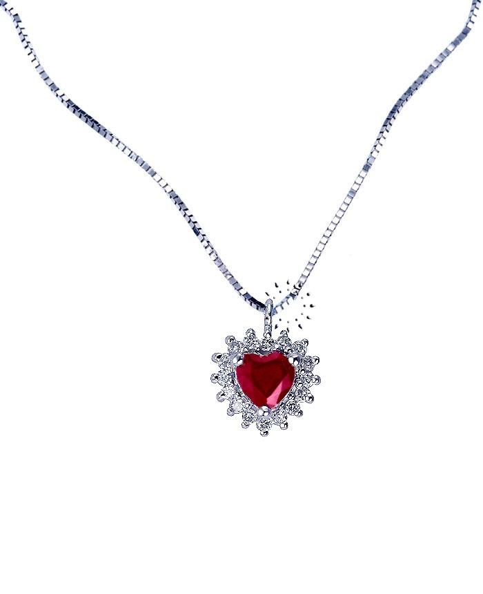 Κολιέ καρδιά 18Κ Λευκόχρυσο με Ρουμπίνι και Διαμάντια  705€  http://www.kosmima.gr/product_info.php?products_id=9981