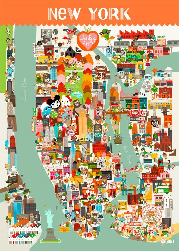 Poster Carte de New York pour Enfants - L'Affiche Moderne