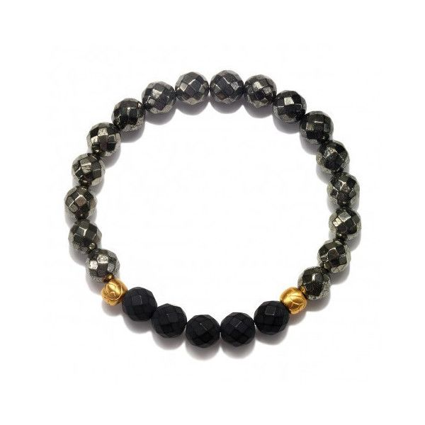 ILLUSTRIOUS MATTE Pyrite and Matte Black Onyx bracelet